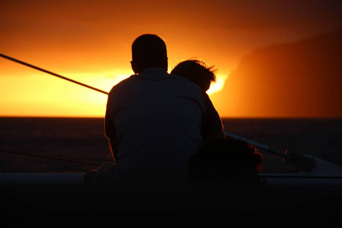 Sunset On Catamaran On The Madeira Island