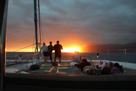Sunset On Catamaran On The Madeira Island