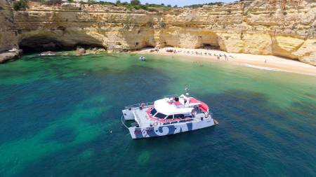 From Albufeira: Catamaran Tour To The Benagil Caves With Barbecue On The Beach And Open Bar