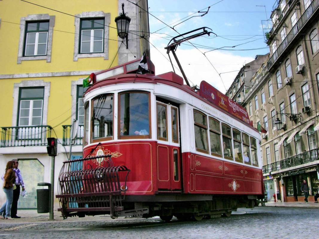 Red tramcar
