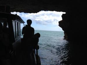 Inside a dark cave