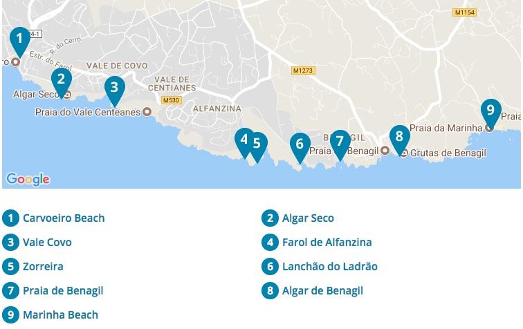 Mapa Algarve Portugal Praias