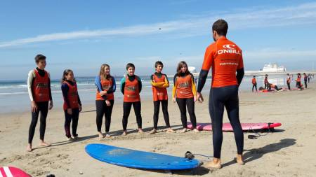 Surf Lesson In Group At Oporto City