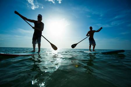 Stand Up Paddle (Sup) Auf Der Insel Terceira, Azoren