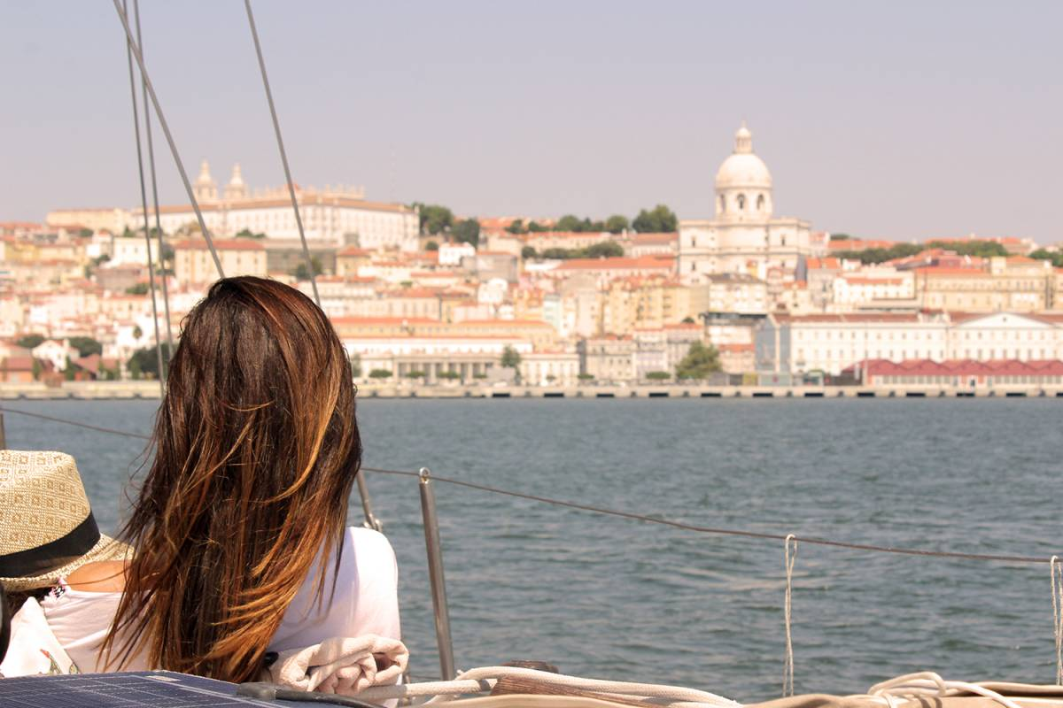 Views Of Lisbon Relaxing On A Sailboat
