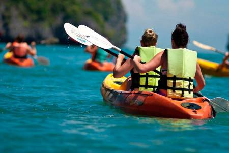 Paseo De Kayak Y Sup Partiendo De Vilamoura Con Visita A Las Cuevas Y Barbacoa En La Playa