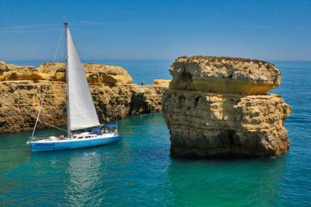 From Albufeira: Visit The Benagil Cave On A Sailing Yacht With Barbecue On The Beach