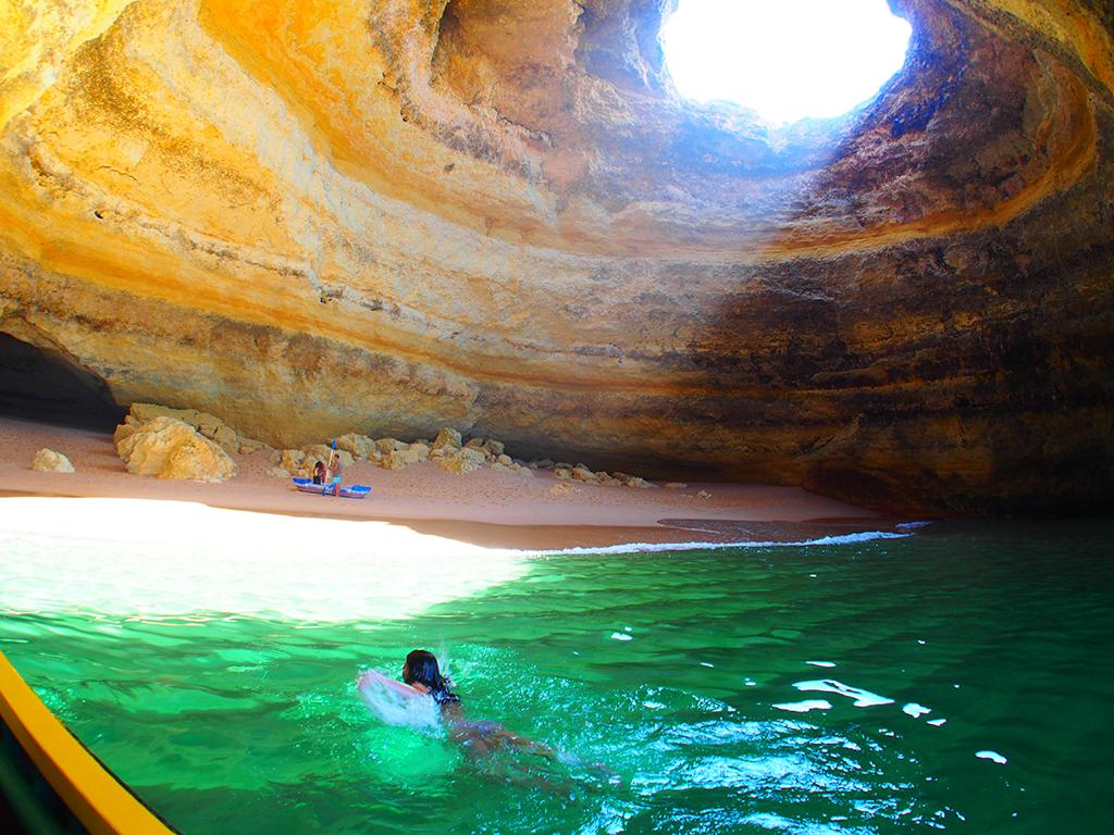 Benagil caves swimming