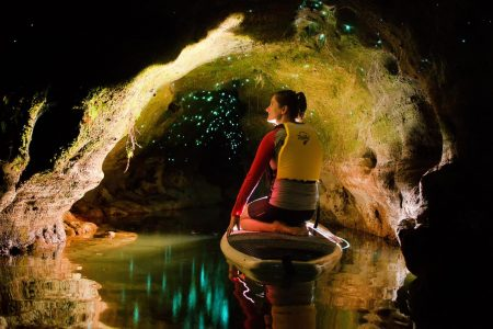 From Rotorua: Stand-Up Paddle Board Tour In The Glow Worm Caves