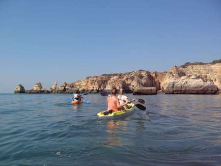 Von Portimo: Sonnenuntergangs-Kajaktour An Der Algarve-Küste