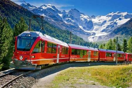 From Milan: Tour To Sankt Moritz On The Bernina Express, The Red Train Of The Alps