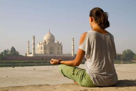 Agra Walking Tour With Spiritual Yoga Class Facing The Taj Mahal