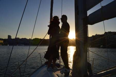 Sunset Ride On A Sailboat In The Douro River