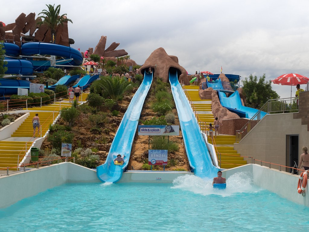 Slide & Splash is probably the most themed water park! It works like an island with slides on all sides!